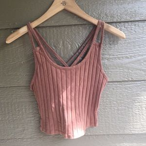 Bozzolo Boho Ribbed Strappy fitted tank top